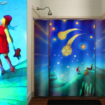 whimsical shooting star gazing family girl shower curtain kids bathroom decor bath fabric window curtains panel bathmat rug towel extra long