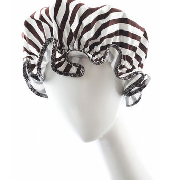 Brown & White Shower Cap