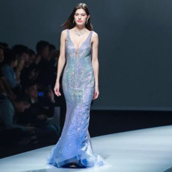 Formal Blue Mermaid Evening Dresses for Women Deep V-neck Sleeveless Crystal Beading Long Sexy See-through Party Gowns