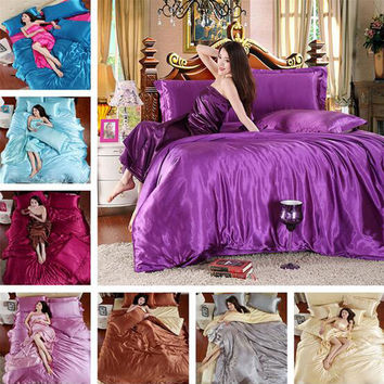 Hot 100% Pure Satin Silk Sheets Silk Quilt Bed Linen Cotton Solid Satin Duvet Cover Set King Size Bedsheet 4pcs of Bedding Sets
