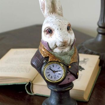 WHITE RABBIT CLOCK - Alice in Wonderland Clock, Whimsical Desk Clock