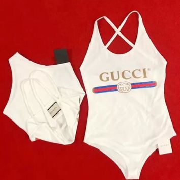 GUCCI Fashion Women Swimmer Letter Print Swimmer U Collar Vest Style Back Cross One Piece Bikini Swimsuit Swimwear Bathing I