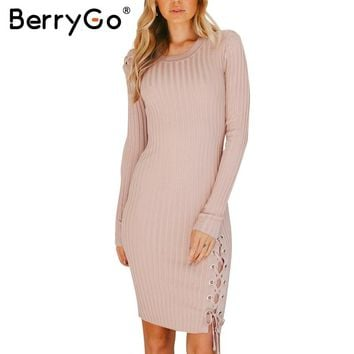 BerryGo Elegant lace up knitted sweater dress women Skinny split pull knit winter dress 2017 autumn jumper vintage pullover