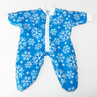 "BITTY BABY PAJAMAS, blue and white snowflake pajamas, handmade clothes, for 15"" bitty baby doll"