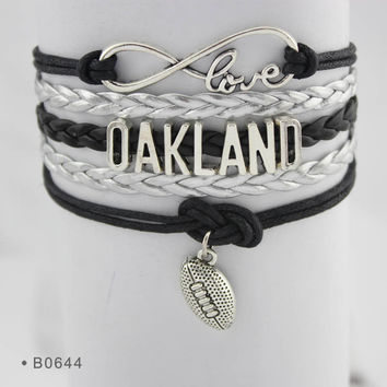 Infinity Love Football Bracelet - Oakland Football