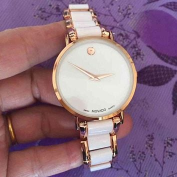 MOVADO Woman Men Fashion Quartz Movement Wristwatch Watch