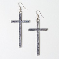 Oversize Antique Cross Drop Earrings  | Claire's