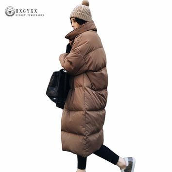 New Winter Jacket Women Oversized Coats Loose Stand Collar Down Parka Military Jackets Long Solid Women's Quilted Jacket Oka789