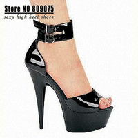Best Selling 2015 New Arrival Lady Fashion 6 Inch High Heel Shoes Sexy Mouth Open Women Sandals 15cm Sexy Clubbing High Heels Black = 1945739012