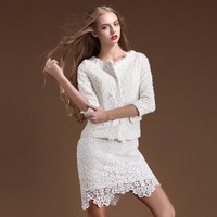 Slim Beads Round Neck Short Jacket White TFC03B - Fashion Destination|Thisfind.com