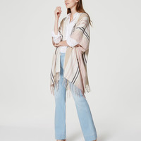Striped Fringe Poncho | LOFT