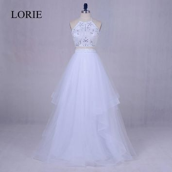 2 Piece Prom Dresses 2017 LORIE White Tulle Long Graduation Party Dress Beading Top	Halter Backless Abendkleid Evening Gowns