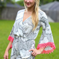 Near or Far Floral Romper - Ivory and Black