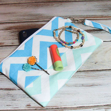 Mint Aqua Wristlet - Cell Phone Wristlet - Wristlet Clutch Bag - Chevron Clutch Bag - iPhone Wristlet - Large Wristlet Purse - Large Clutch