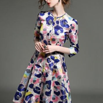 Neck Sleeve Watercolor Fashion Gold Rose Jacquard Embroidered Dress