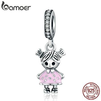 BAMOER Fashion 100% 925 Sterling Silver Couple Little Girl Pendant Charm fit Girls Charm Bracelet & Necklaces DIY Jewelry SCC543