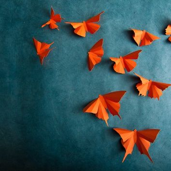 3D Wall Butterflies: Carrot Orange Butterfly Silhouettes for Girls Room, Nursery, and Home Art Decor