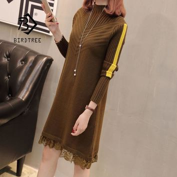 Spring New Women's Knitting Solid Lace Dress Loose Full Sleeve Turtleneck Above Knee Sweater Vestido Lady D94103Z