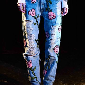 'EVERY ROSE HAS ITS THORN' Hand-Sequinned Denim