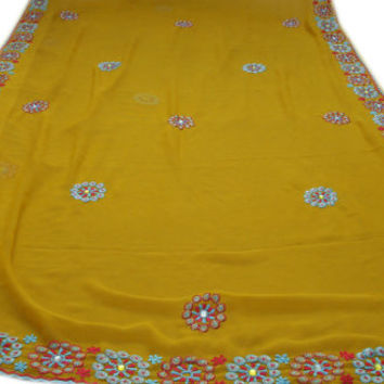 Free Shipping Vintage Yellow Saree Georgette Sari Indian Embroidered Clothing Antique Sarong Beaded Wrap Party Wear 5 Yard RD27