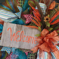 Fall Welcome Wreath Fall Front Door Wreath Barnwood Welcome Sign Fall Mesh Wreath Autumn Wreath Unique Wreath Designs Vibrant Fall Wreath