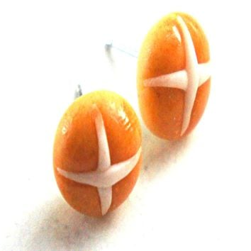 Hot Cross Buns Stud Earrings