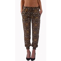 Kaleidoscope Print Harem Pants-Brown