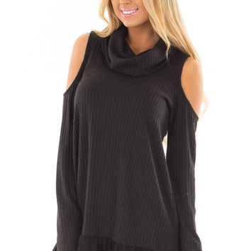 Black Ribbed Cowl Neck Tunic with Cold Shoulders
