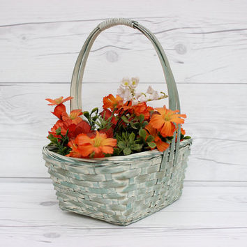 Vintage Blue Woven Wicker Rectangle Decorative Boy's Easter Basket | Rustic, Country, Farmhouse Style