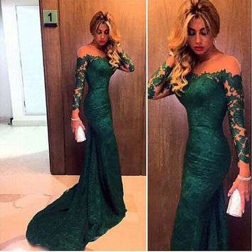 Lace Long Sleeves Prom Dress,Green Long Prom Dresses,Evening Dress