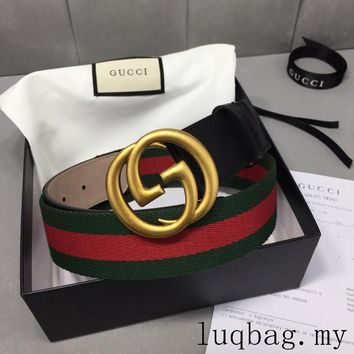 Original Gucci top layer leather belt casual men and women belt with gift box 1
