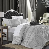 Sienna Ruched Braided Detail Silver 5PC Comforter Bedding Set