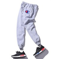 """Champion"" Women Men Fashion Embroidering Print Sport Stretch Pants Trousers Sweatpants Black"