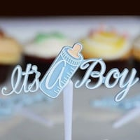 12 It's a Boy and Baby Bottle Cupcake Picks Cake Decoration Shower Blue