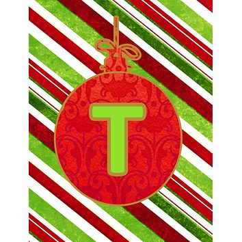 Christmas Oranment Holiday Letter T Monogram Initial Flag  House Size