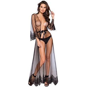 Sexy Passion Impulse Sheer Eyelash Lace Maxi Robe