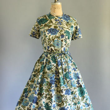 Vintage 50s Dress/ 1950s Cotton Dress/ Martha Moore Deadstock Blue & Green Floral Dress w/ Waist Tie L/XL