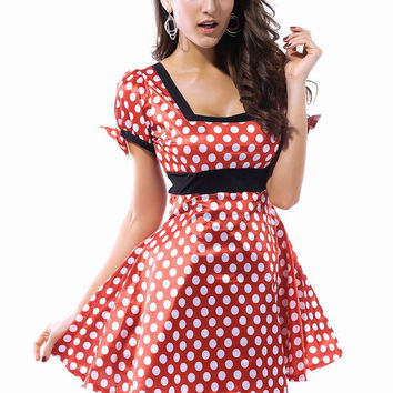 Puff Sleeves Polka Dots Mini Mouse Dress Costume