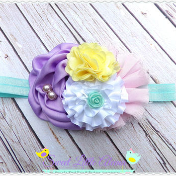 Big Baby Girl Bows, Fall Hair Accessories, Purple Yellow Pink Headband, Big Baby Headband, Flower Hairband, Newborn Headbands, Toddler Bows