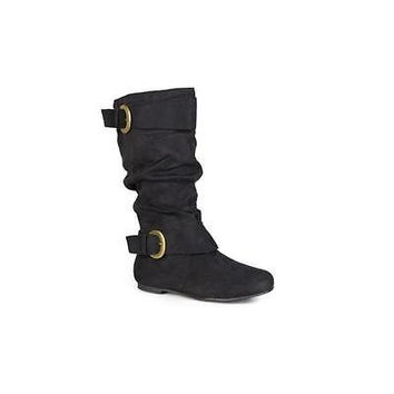 Brinley Co Women's Buckle Accent Faux Suede Slouchy Boots, 10, Black