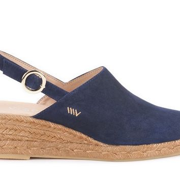 Salionca Suede Espadrille Wedge Clogs - Navy