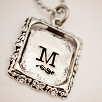 Initial Pendant - Hand Stamped Personalized Single Letter Necklace - Tibetan Silver - Simple, Elegant Gift for Him or Her