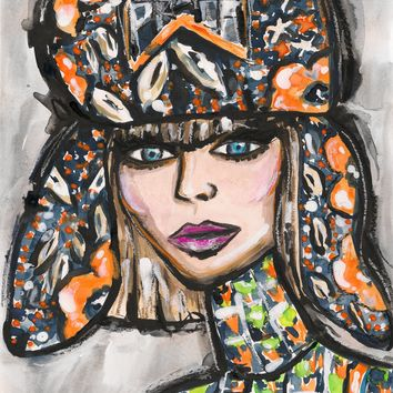 Prada Hat Girl Watercolor Painting