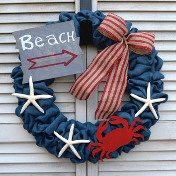 Nautical Burlap Wreath | Nautical Wreath | Crab Wreath | Starfish Wreath | Beach Wreath | Nautical Welcome Wreath