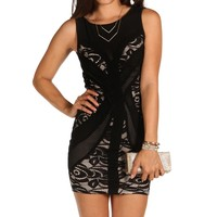 Front Lace Floral Bodycon Dress
