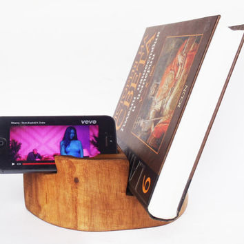 Rustic iPhone holder, Office organizer, Wooden Book Stand, iPhone Stand, Wooden Book Holder, Modern Rustic Décor