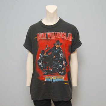 "Vintage T-Shirt Size Large Hank Williams Jr. Shirt 1995 Concert Tour TShirt ""Iron Horse"" Tour Motorcycle Portrait T Shirt Country Music Tee"