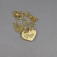 Pizza lover tiny gold heart laser cut necklace