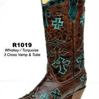 Corral Whiskey Turquoise 3 Cross Boots R1019