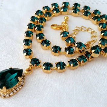 Emerald green Swarovski crystal necklace, Dark green Bridal necklace, Statement necklace, Bridesmaids gift Tennis necklace,Wedding jewelry